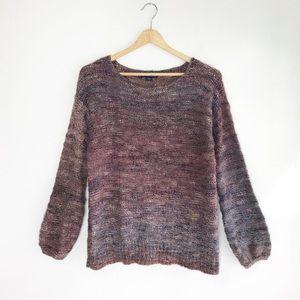 AEO Chunky Knit Purple Ombré Scoop Neck Sweater